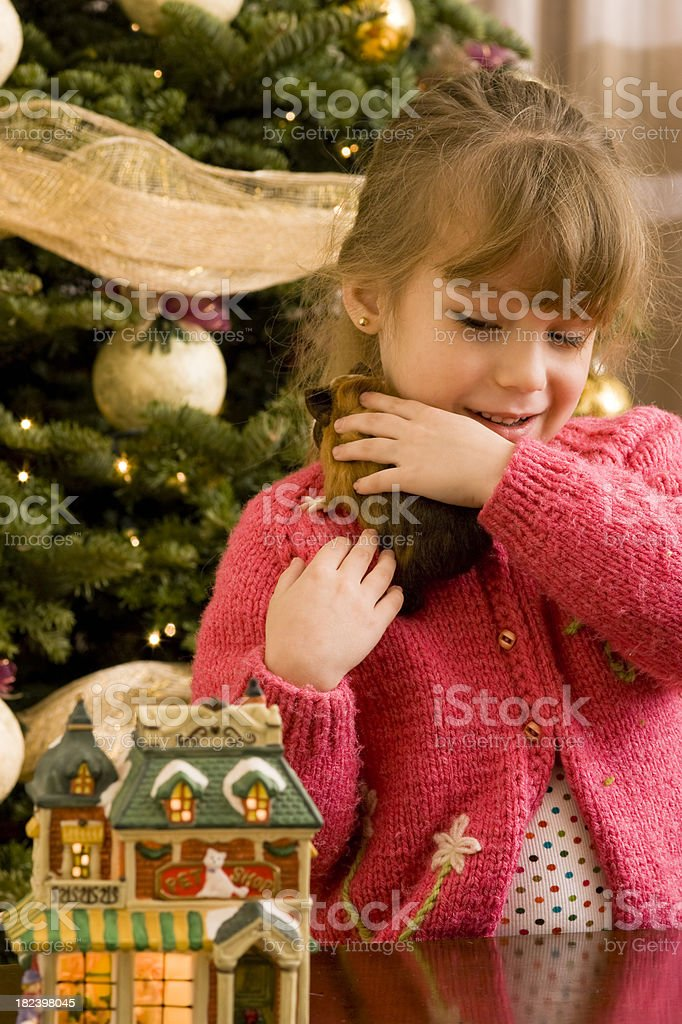 Girl Holding Her Guinea Pig royalty-free stock photo