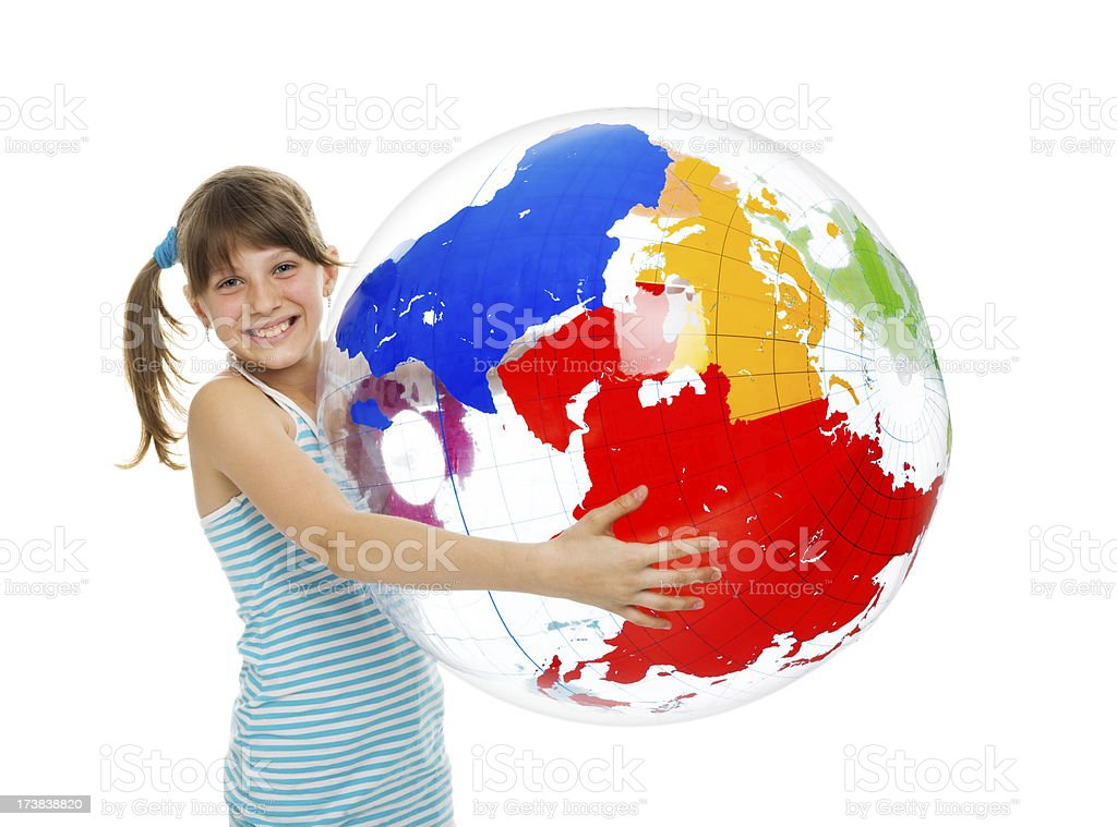 Girl Holding Inflatable Globe royalty-free stock photo