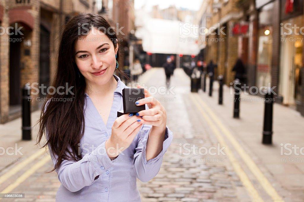girl holding jewelry box royalty-free stock photo