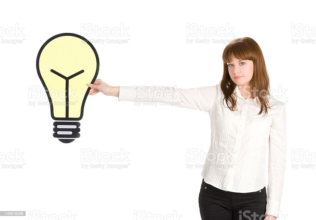 girl holding light bulb close up royalty-free stock photo