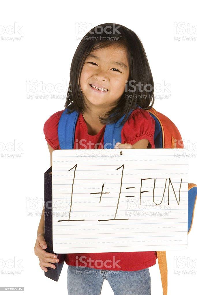 Girl holding math sign stock photo