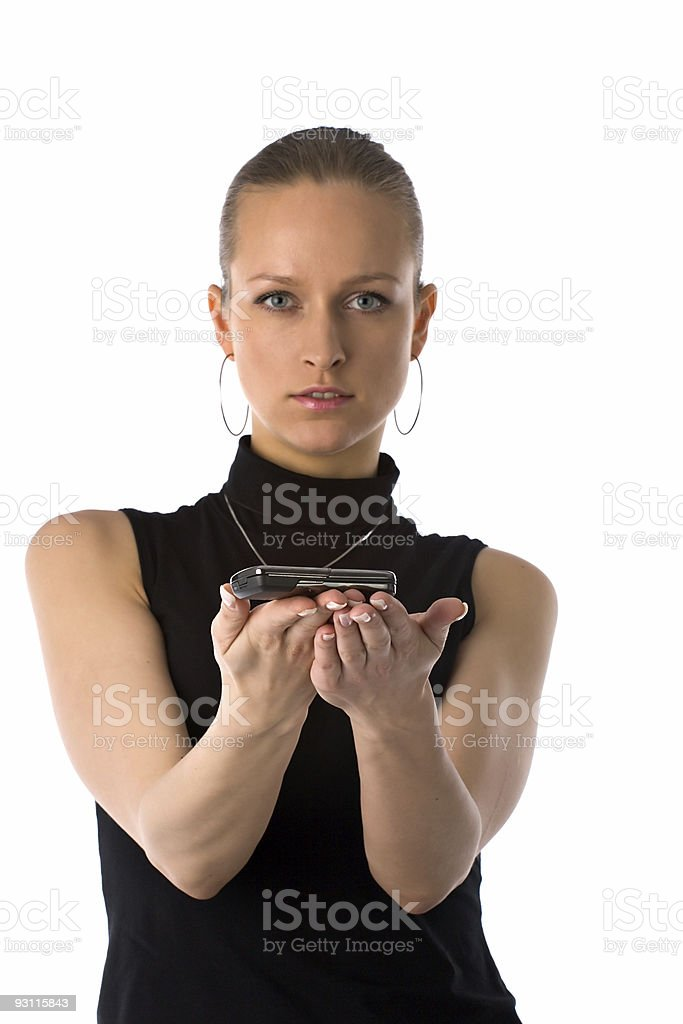 girl holding mobile phone royalty-free stock photo