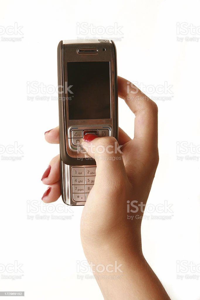 girl holding mobile phone series royalty-free stock photo