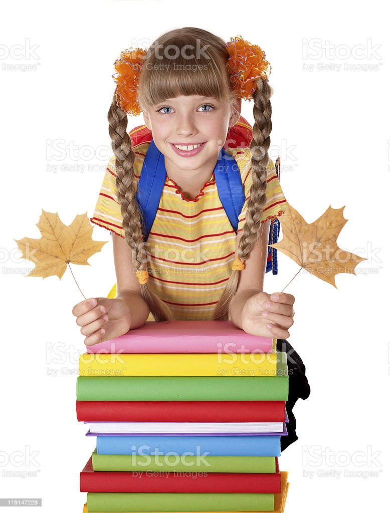 Girl holding pile of books. royalty-free stock photo