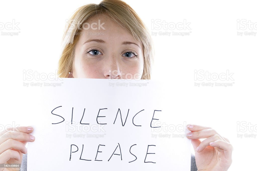 Girl Holding Silence Sign royalty-free stock photo