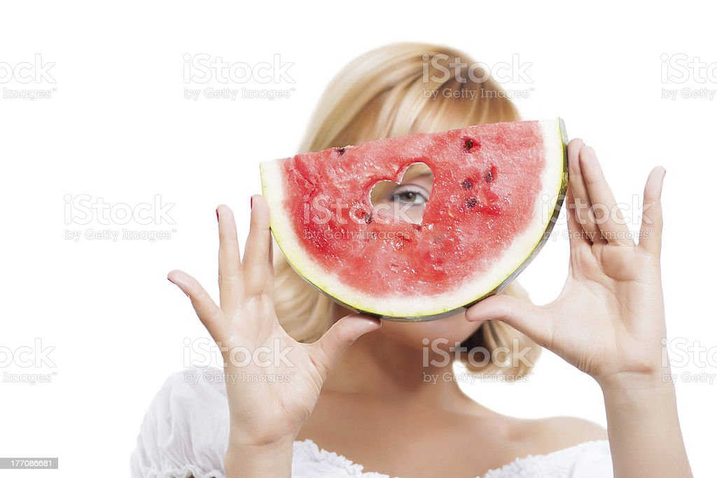 Girl holding slice of watermelon royalty-free stock photo