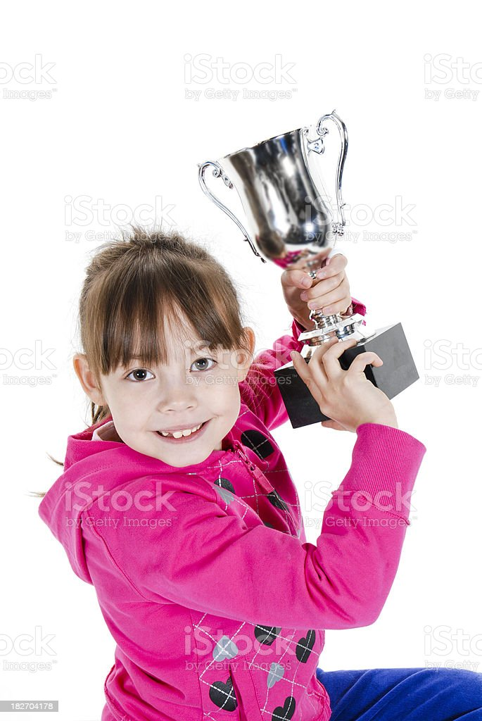 Girl Holding Trophy stock photo