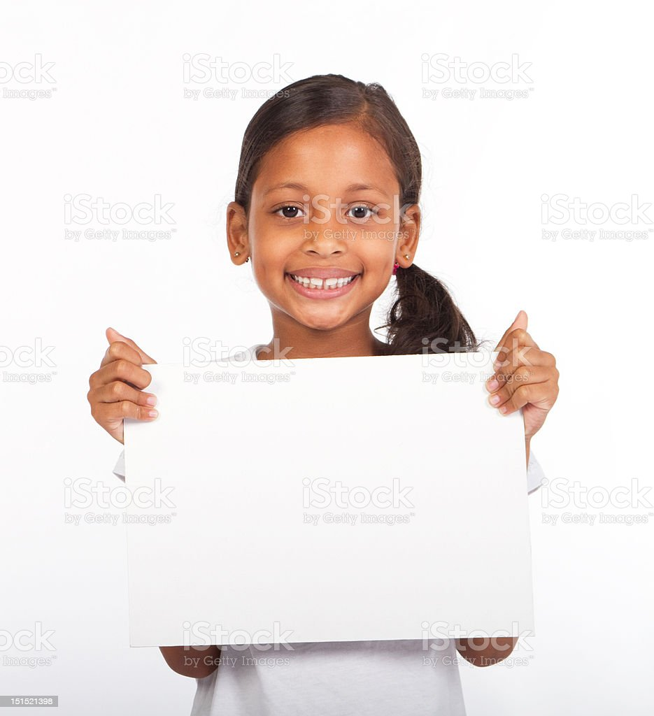 girl holding white board stock photo