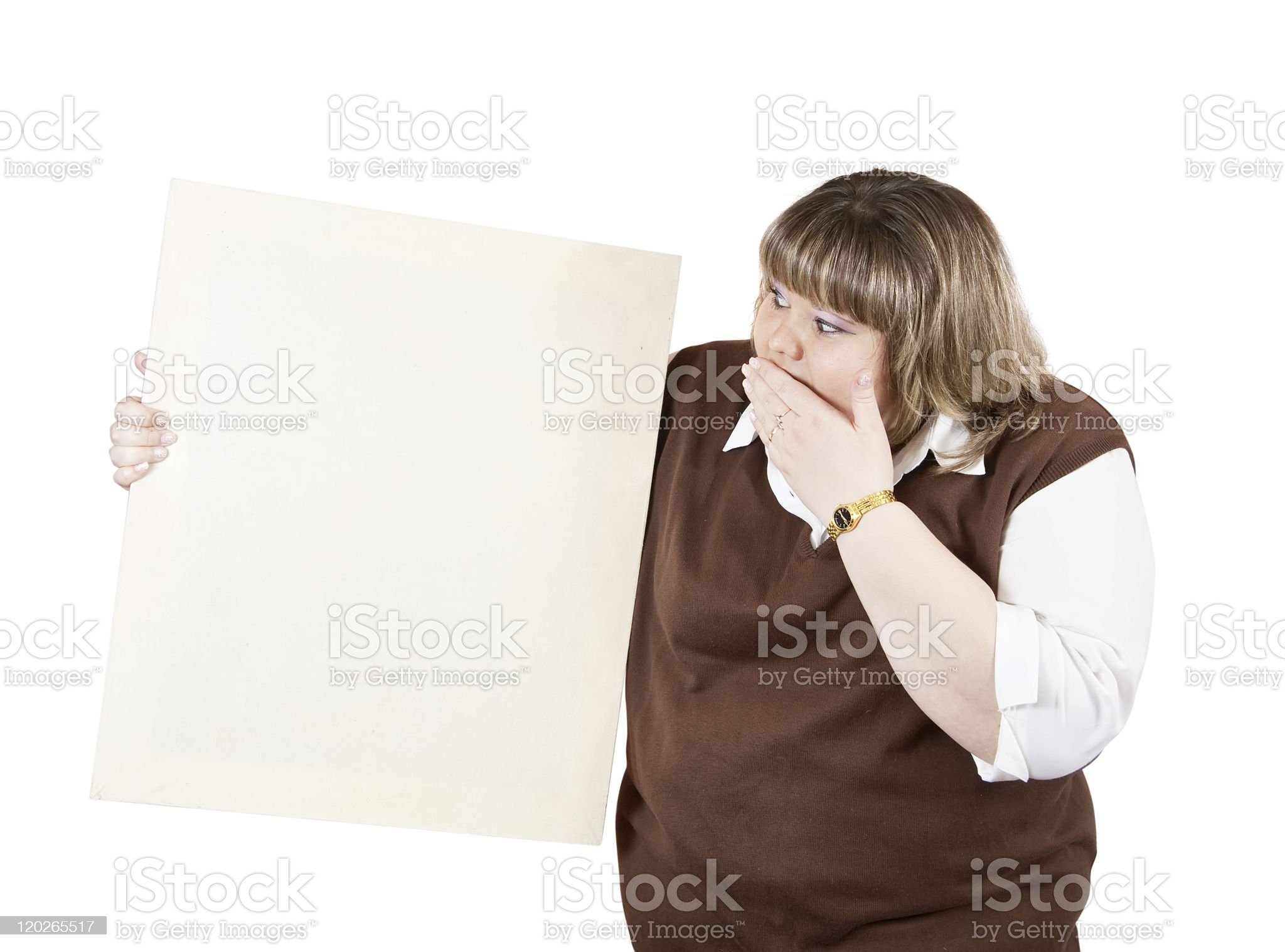 girl holds blank canvas royalty-free stock photo