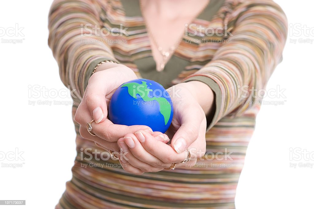 Girl holds globe in hands royalty-free stock photo
