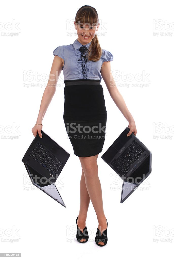 Girl holds two laptop royalty-free stock photo