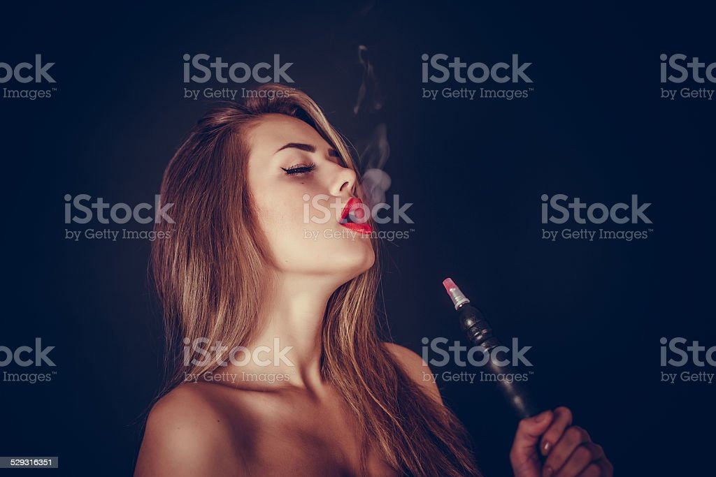 Girl. Hookah stock photo