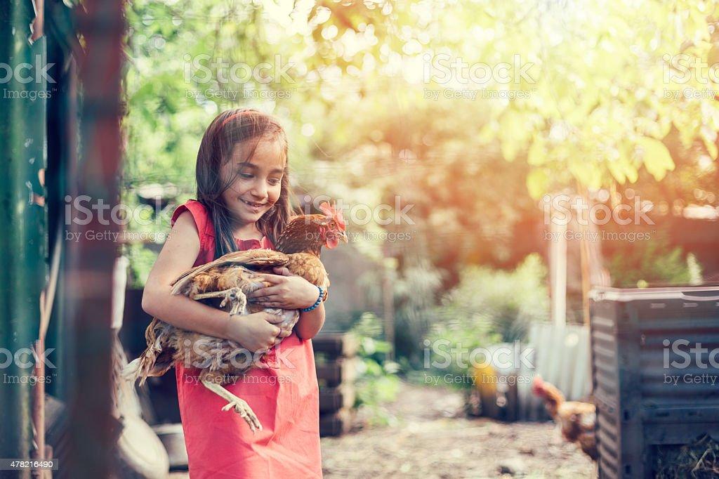 Girl hugging a hen stock photo