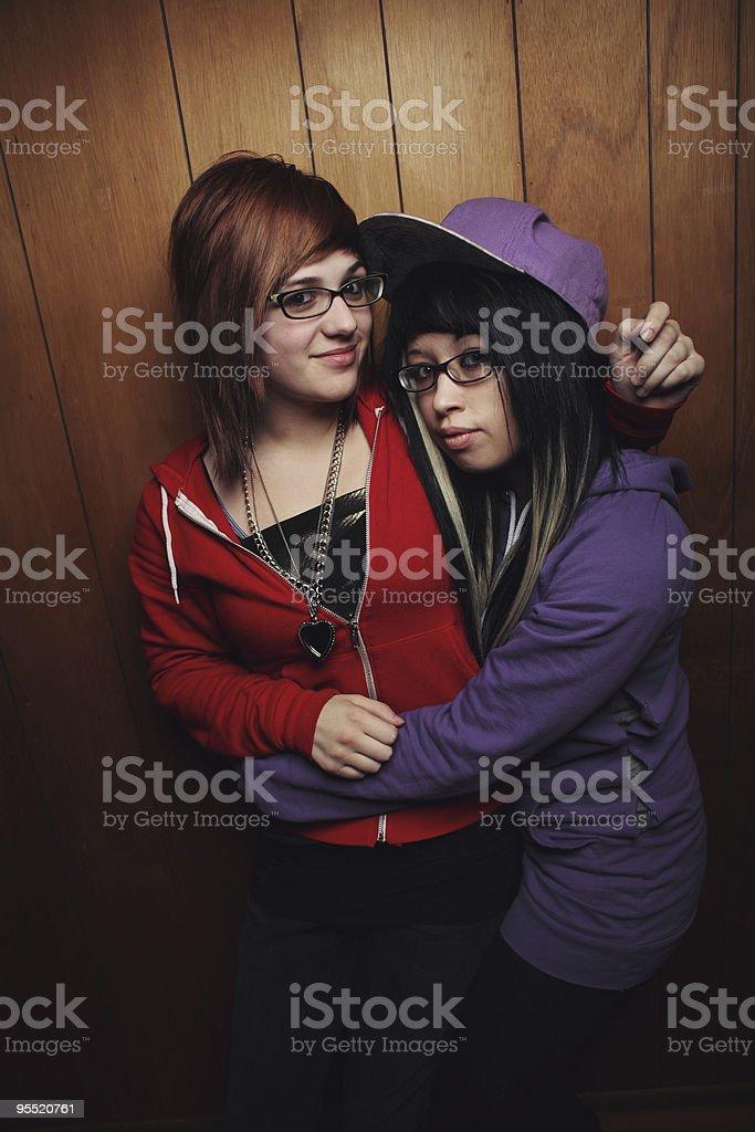 girl hugging friend royalty-free stock photo