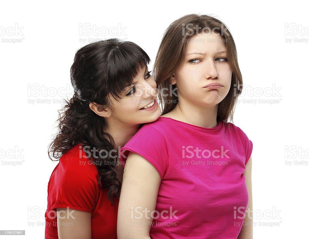 Girl hurt his  friend royalty-free stock photo