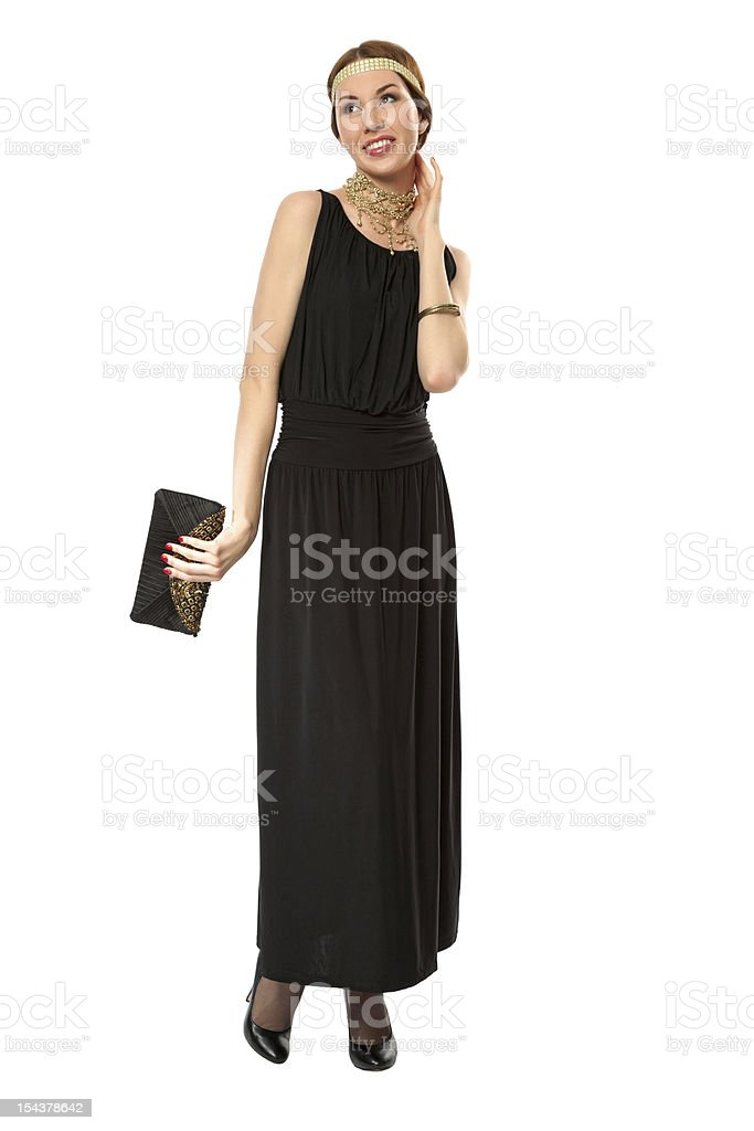 Girl in a black retro dress royalty-free stock photo