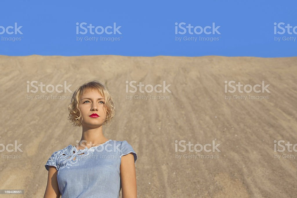 girl in a blue dress royalty-free stock photo