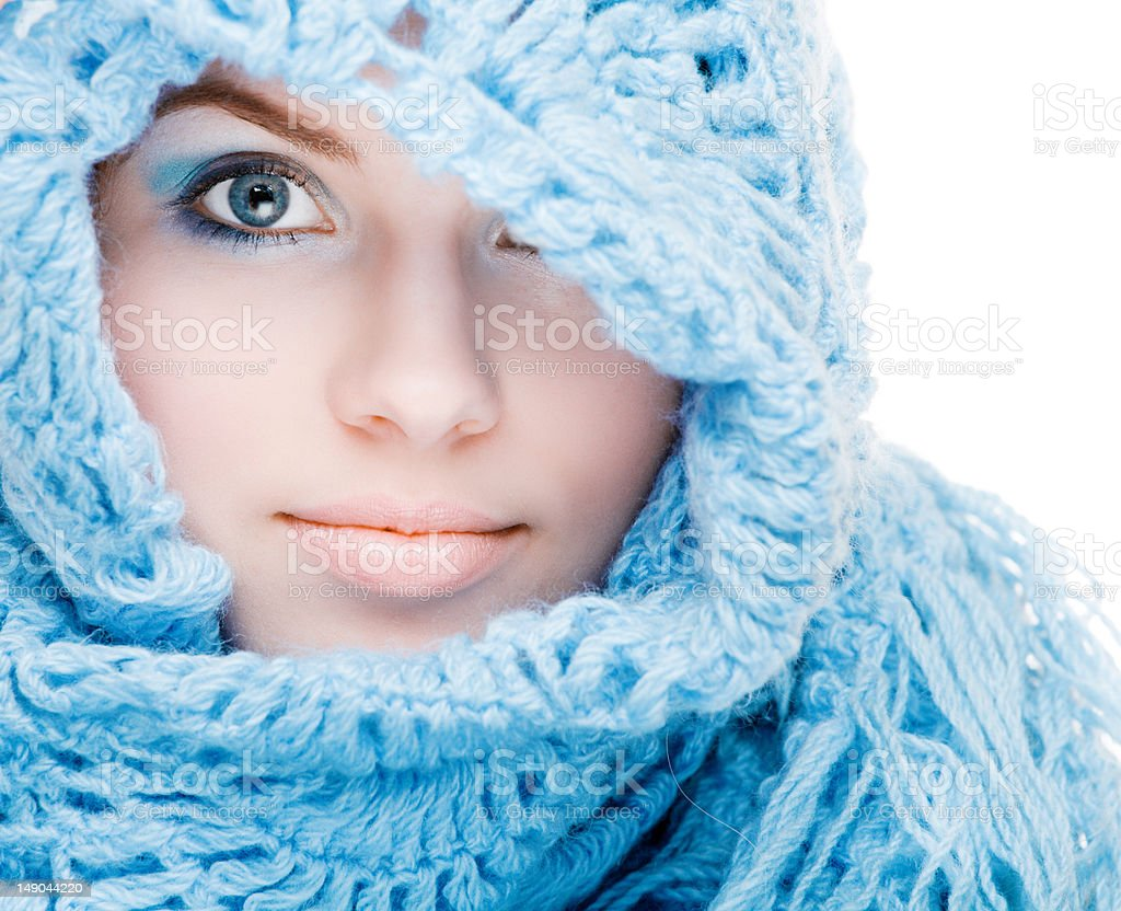 Girl in a blue scarf royalty-free stock photo