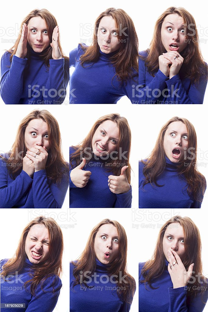 Girl In A Blue Sweater Pulling Faces royalty-free stock photo