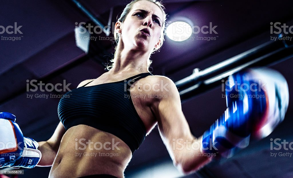 Girl in a Boxing Ring stock photo