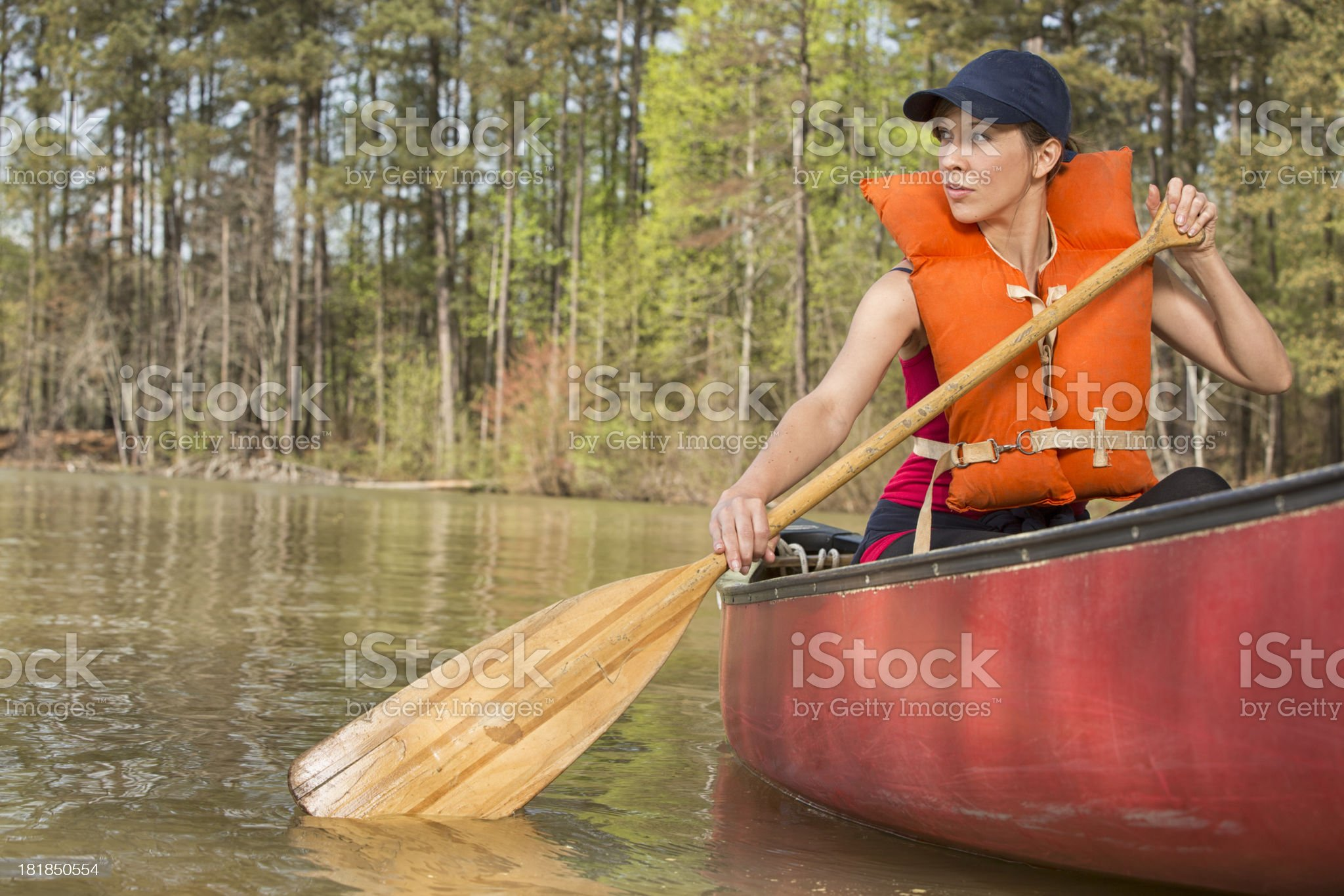 Girl in a canoe royalty-free stock photo