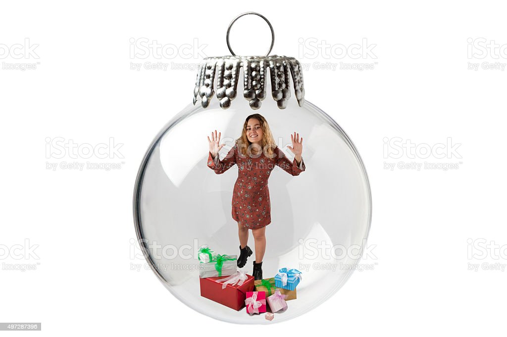 Girl In a Christmas Baubles stock photo