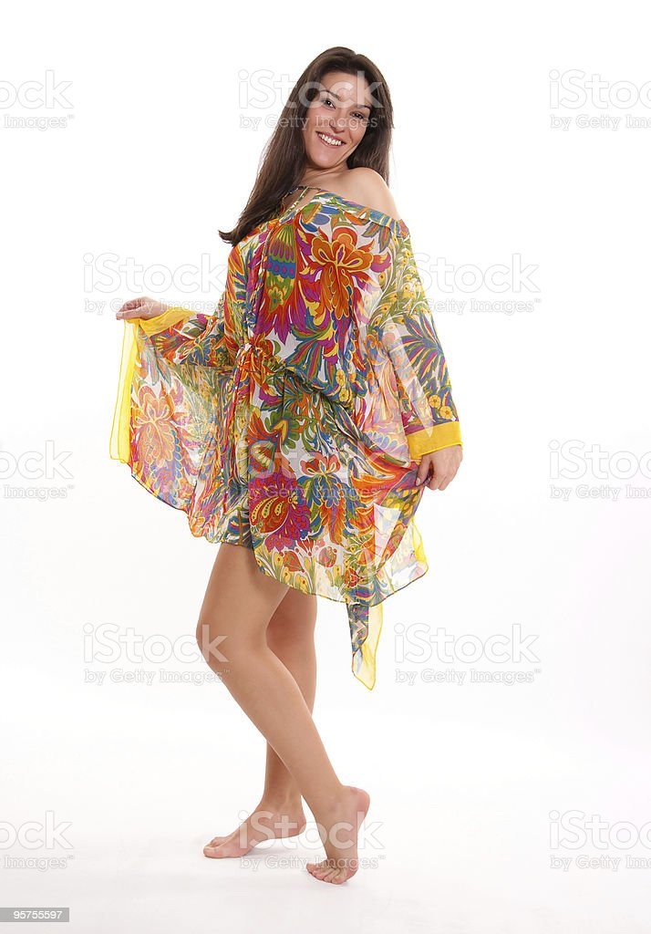 Girl in a colourful tunic stock photo
