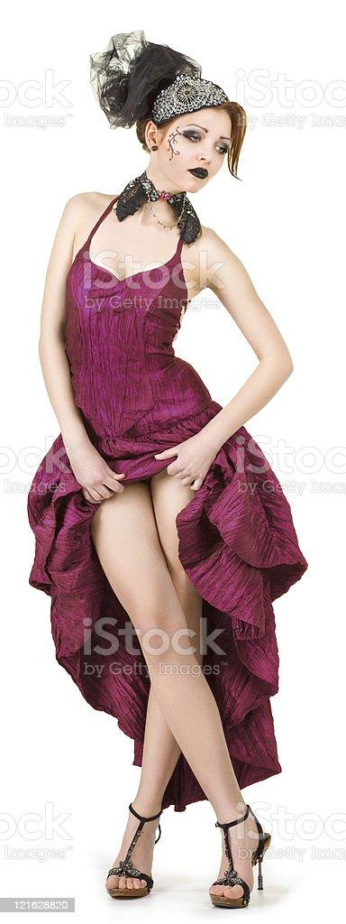 girl in a crimson dress stock photo