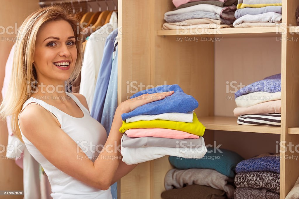 Girl in a dressing room stock photo