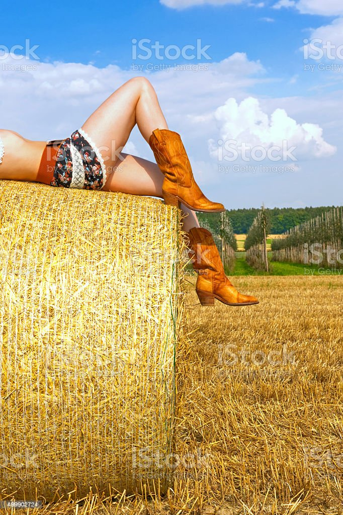 Girl in a Field five stock photo