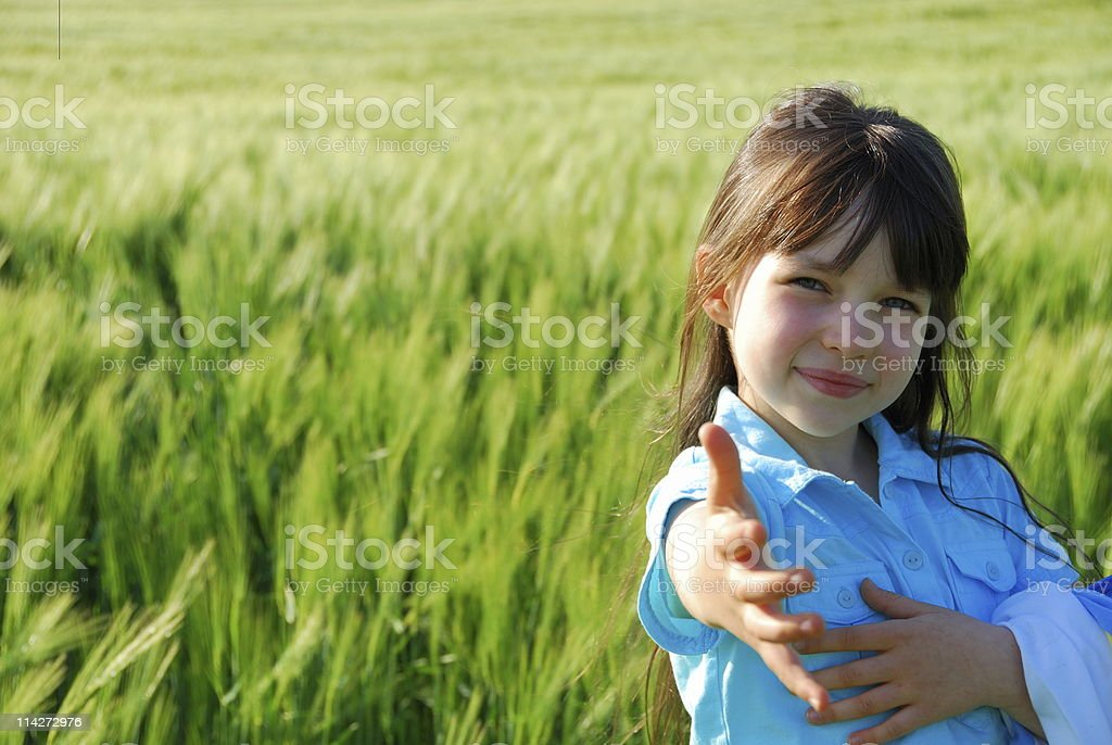 girl in a field of grain royalty-free stock photo