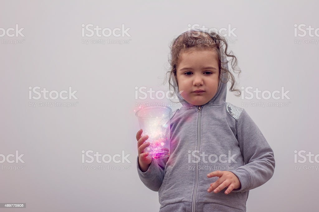 girl in a fog stock photo