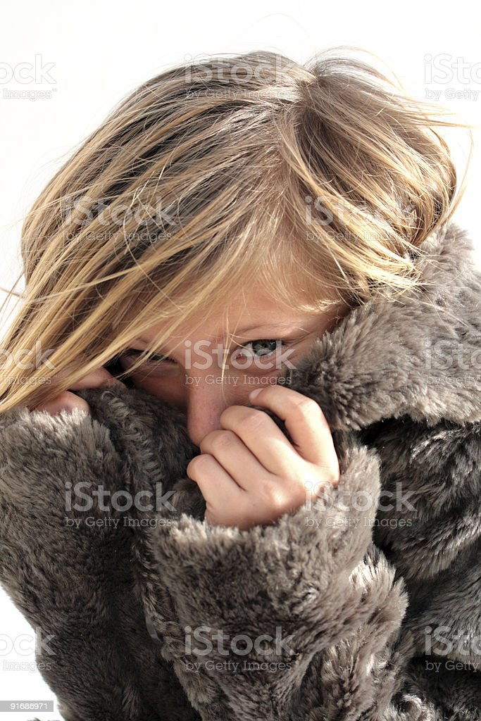 girl in a fur coat royalty-free stock photo