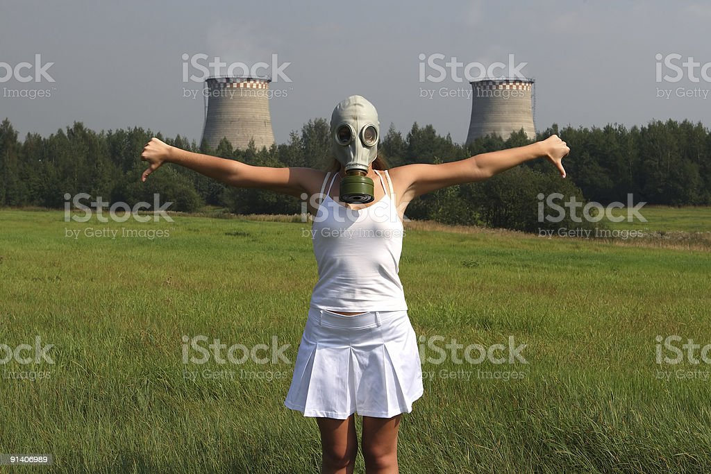 Girl in a gas mask royalty-free stock photo