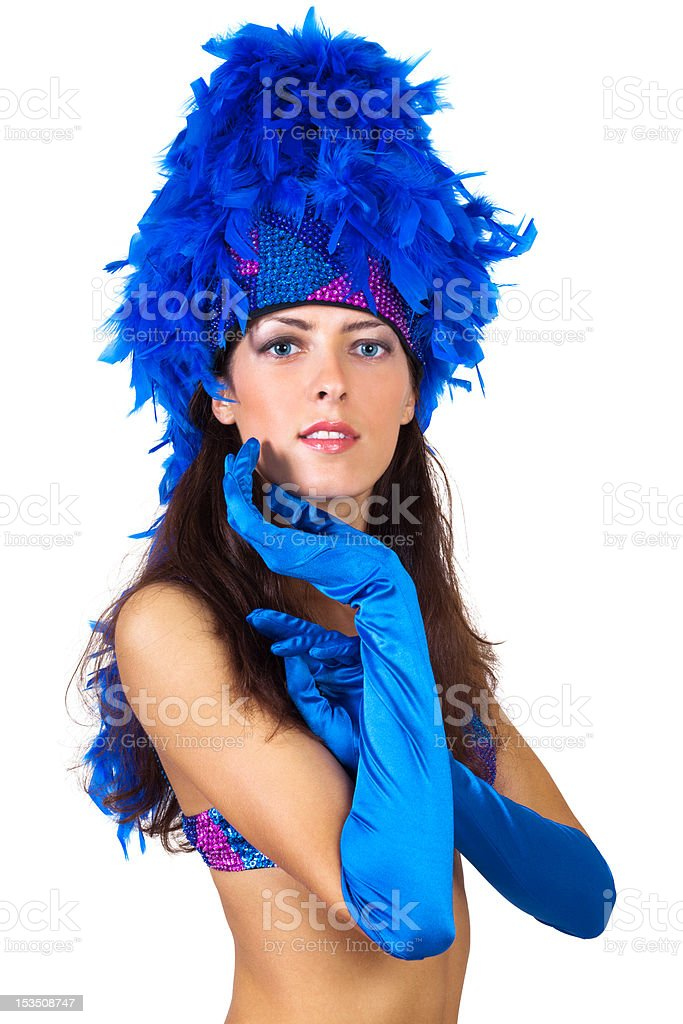 girl in a hat with feathers stock photo