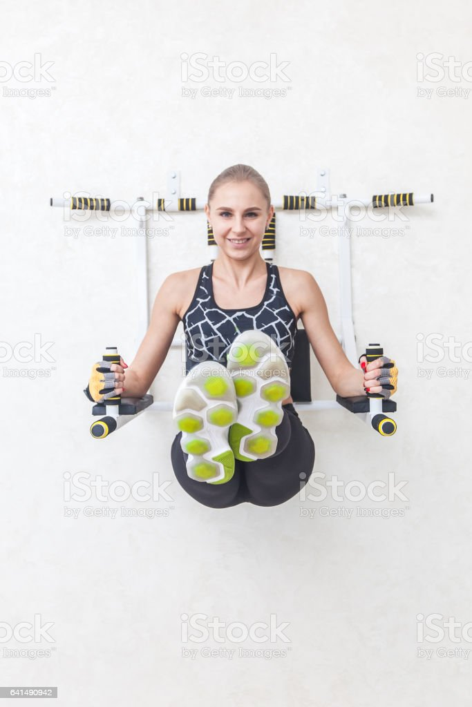 girl in a jim training abs stock photo