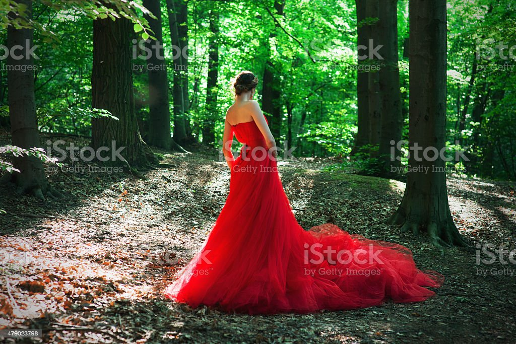 girl in a long red dress and a royal crown stock photo