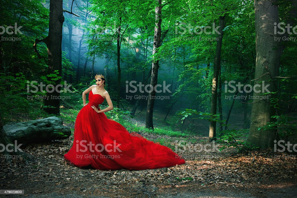 girl in a long red dress and royal crown stock photo