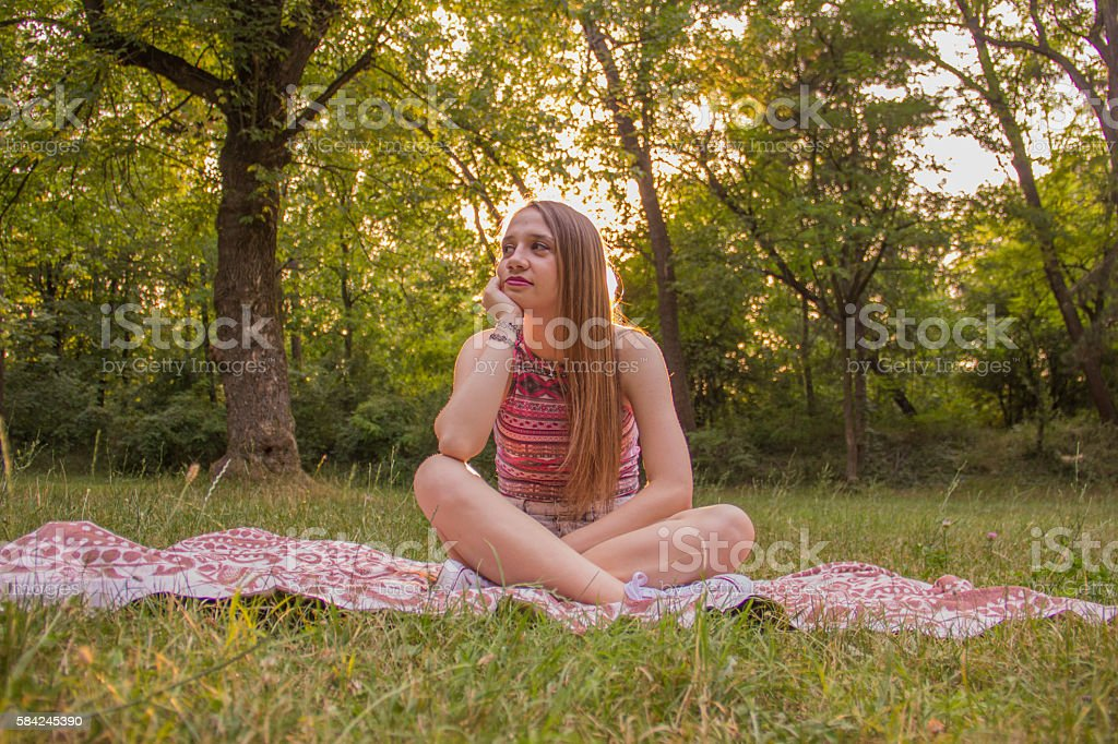 Girl in a park royalty-free stock photo