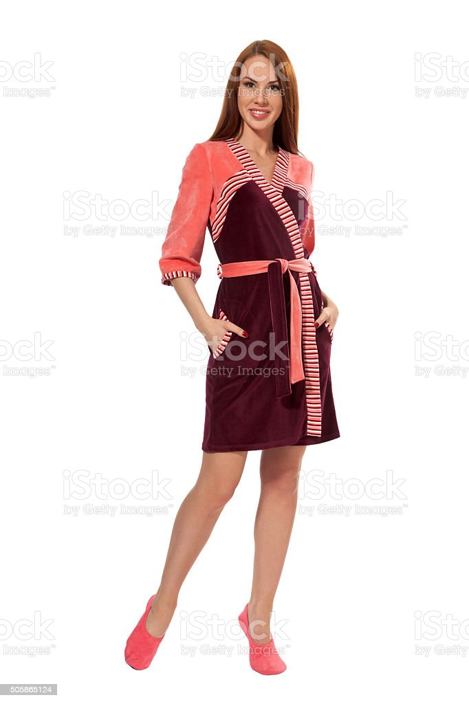 Girl in a  pink bathrobe stock photo