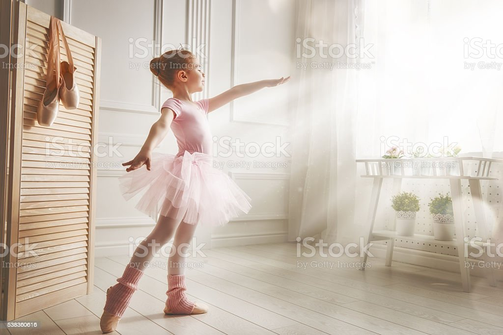 girl in a pink tutu stock photo