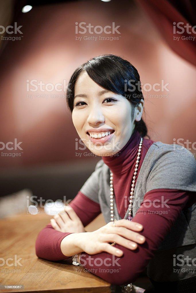 Girl in a restaurant stock photo