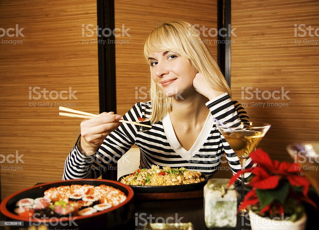 Girl in a restaurant royalty-free stock photo