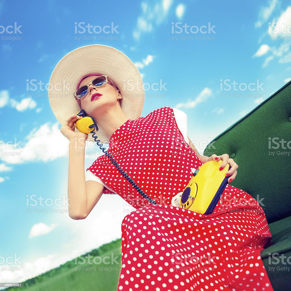 girl in a retro style royalty-free stock photo