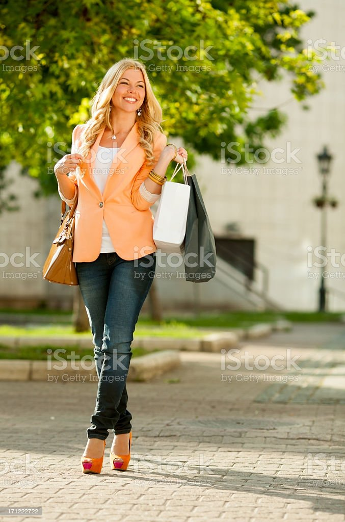Girl in a shopping royalty-free stock photo