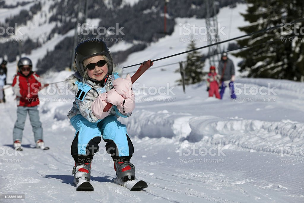 girl in a ski lift royalty-free stock photo