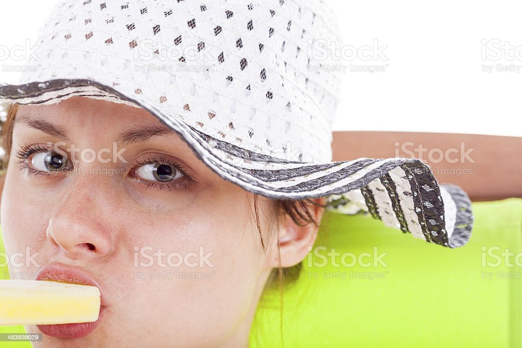 Girl In A Sun Hat royalty-free stock photo