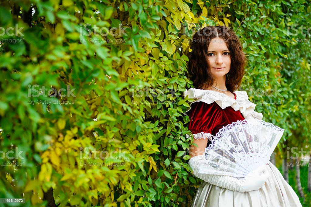 girl in a vintage dress stock photo