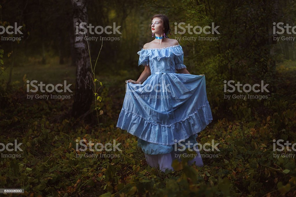 Girl in a vintage dress. stock photo