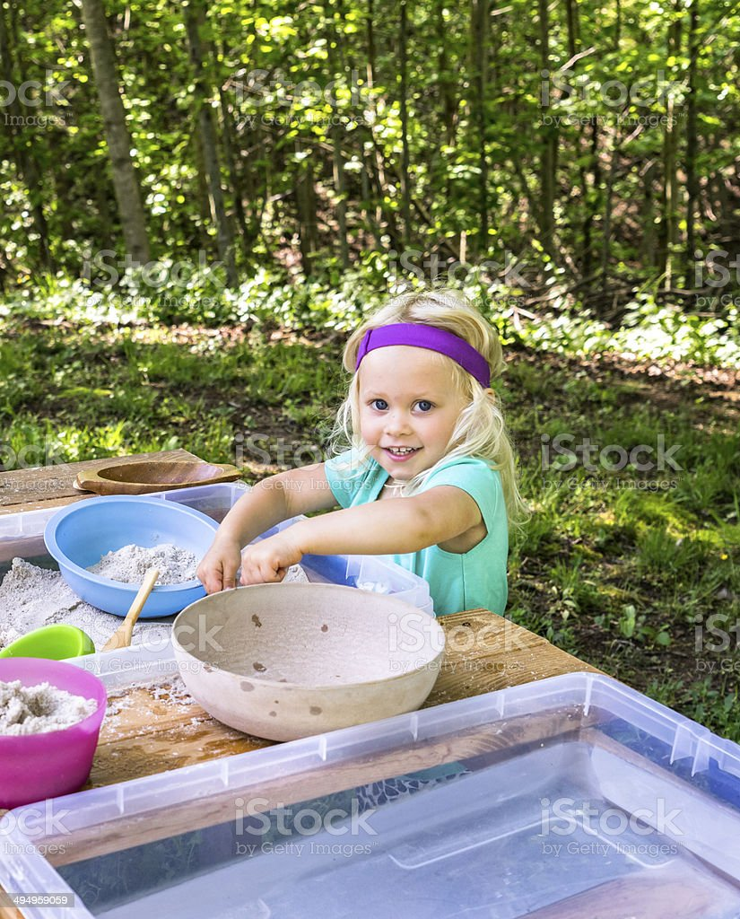Girl in a Waldorf Preschool royalty-free stock photo